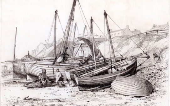 Hogboats &c near the Battery, Brighton, May 1830