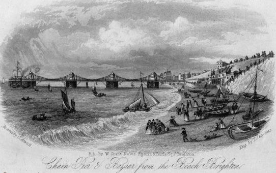 Chain Pier & Bazaar from the Beach, Brighton (Looking West)