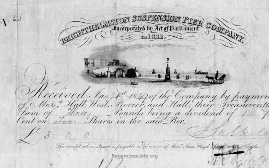 Dividend payment certificate from the Brighthelmstone Suspension Pier Company, incorporated by Act of Parliament in 1822