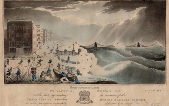 To Capt. S. Brown RN. This plate representing the situation of the Chain Pier at Brighton during the Late Tempest