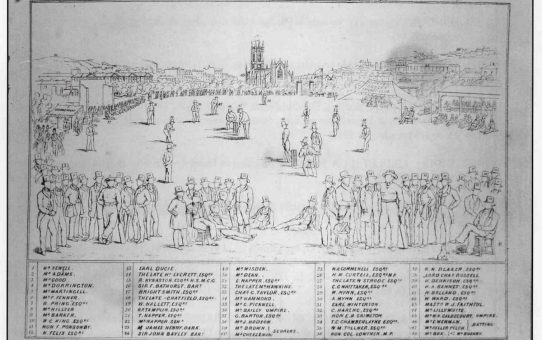 Key Plate to W H Mason's Drawing of a Cricket Match at Brighton between the Counties of Sussex and Kent