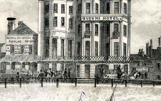 Detail of The Queens Hotel taken from 'Fish Market on the Beach, Brighton – from the sea'