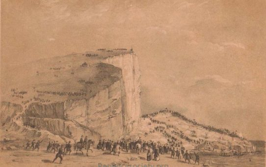 Seaford Cliff – as it appeared immediately after the explosion (by voltaic battery) Sept 19th 1850