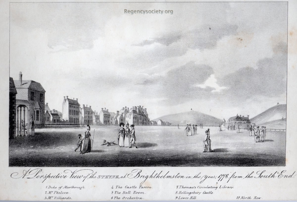 A Perspective View of the Steyne at Brighthelmstone, in the year 1778, from the South End
