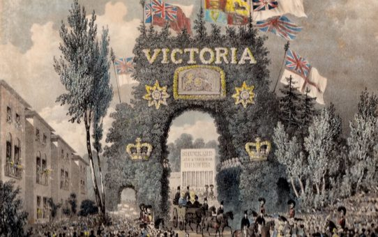 The Passing of Her Majesty Queen Victoria under the Triumphal Arch, on Her Majesty's first visit to Brighton, October the fourth, 1837, at 20 minutes past 4