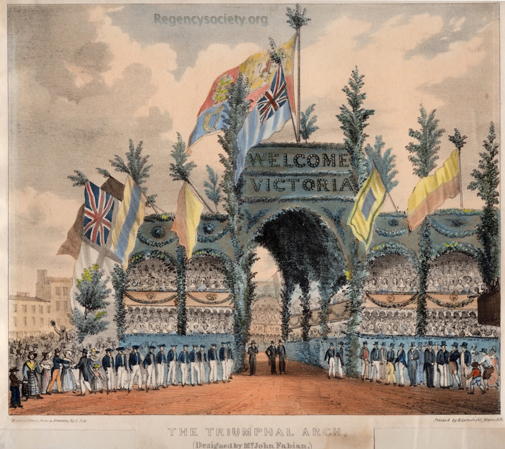 The Triumphal Arch (Designed by Mr. John Fabian) erected in honour of the arrival of Her Majesty Queen Victoria, in Brighton, Octr 4th 1837