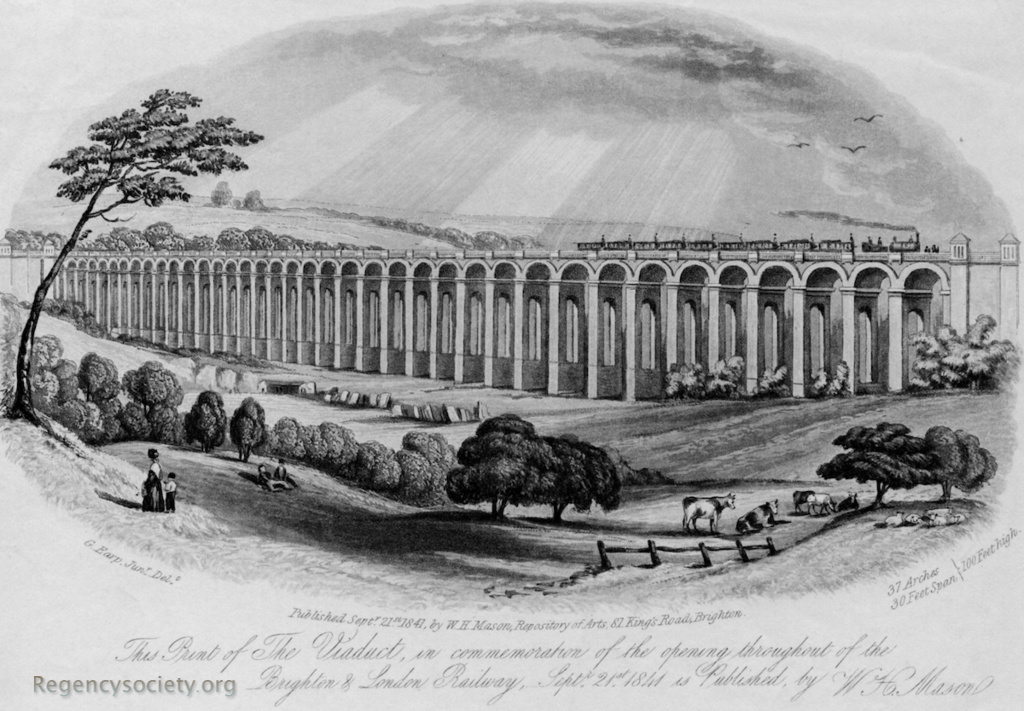 This print of The Viaduct, in commemoration of the opening throughout of the Brighton & London Railway, Sept 21st 1841
