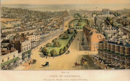Bird's eye View of Brighton, From the New Church, at the Entrance of the Town. Including the Marine Palace of Her Majesty Victoria the First