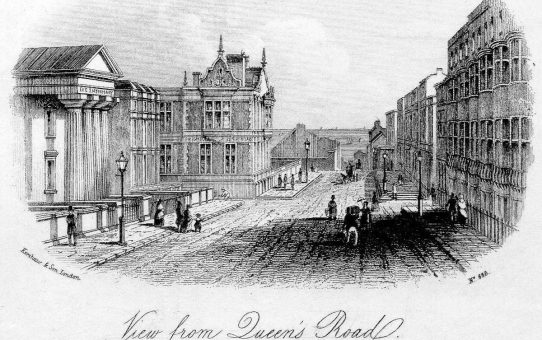 View from Queen's Road. Collonnade Inn in a direct line to the Sea: The Eye Infirmary & Dispensary on the left  (Distance from the Sea 400 Yards)